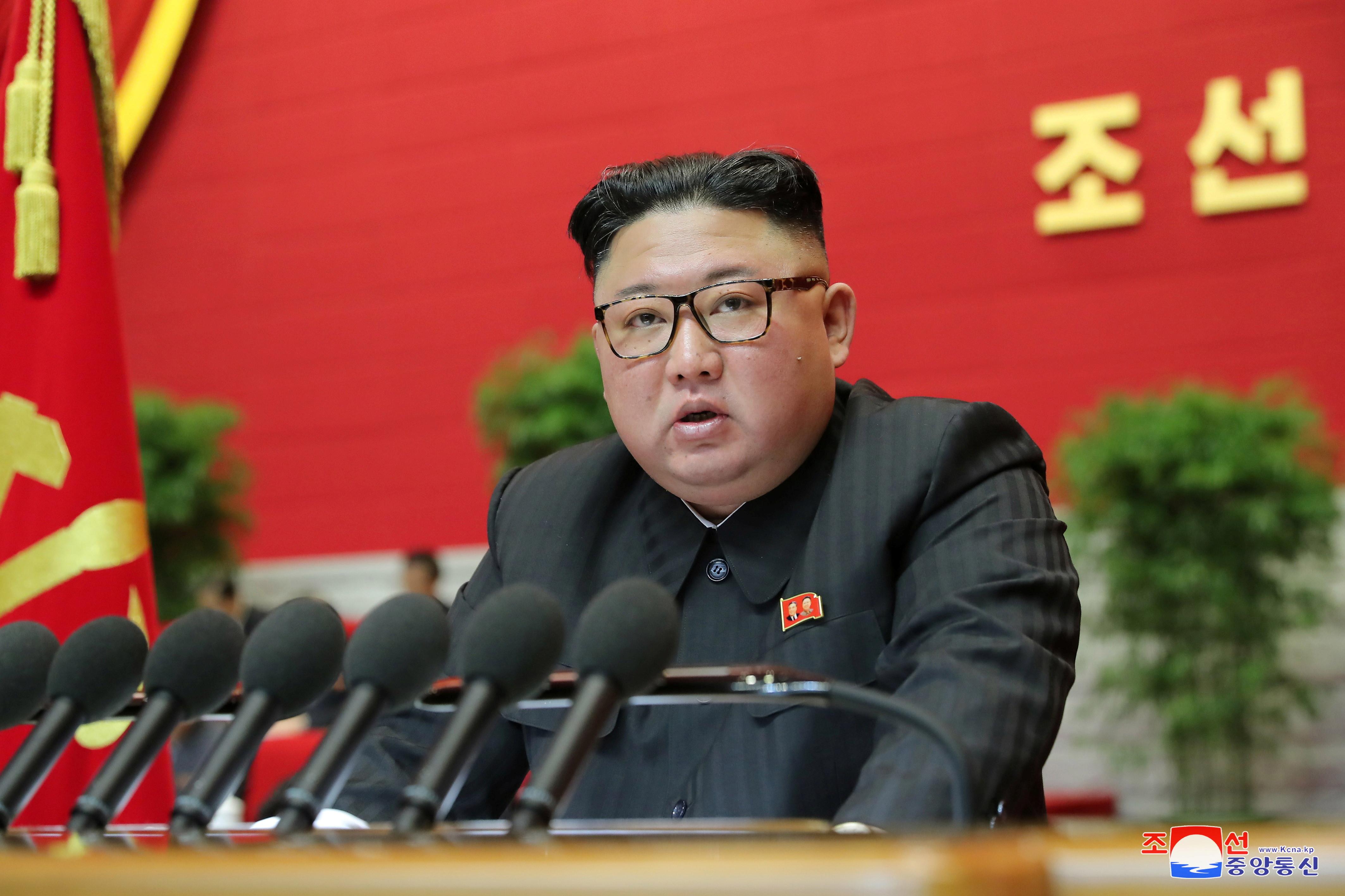 ▲▼金正恩在第8次勞動黨全代會上,發表對美國、南韓的態度。(圖/路透社)