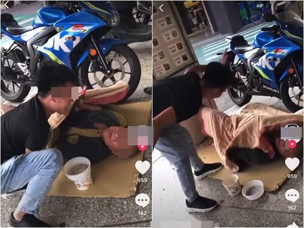 欺負街友「抖音」全錄下!桃園移工掀棉被拍打…他躺地上痛苦掙扎