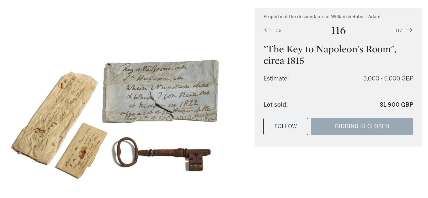 ▲▼ 拿破崙監獄鑰匙出土  。(圖/翻攝自Sotheby`s)