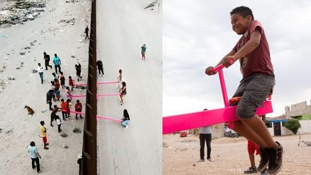 ▲▼藝術家於美墨邊界設「粉紅蹺蹺板」,讓兩國人民一同玩樂。(圖/翻攝自Instagram/@rrael)