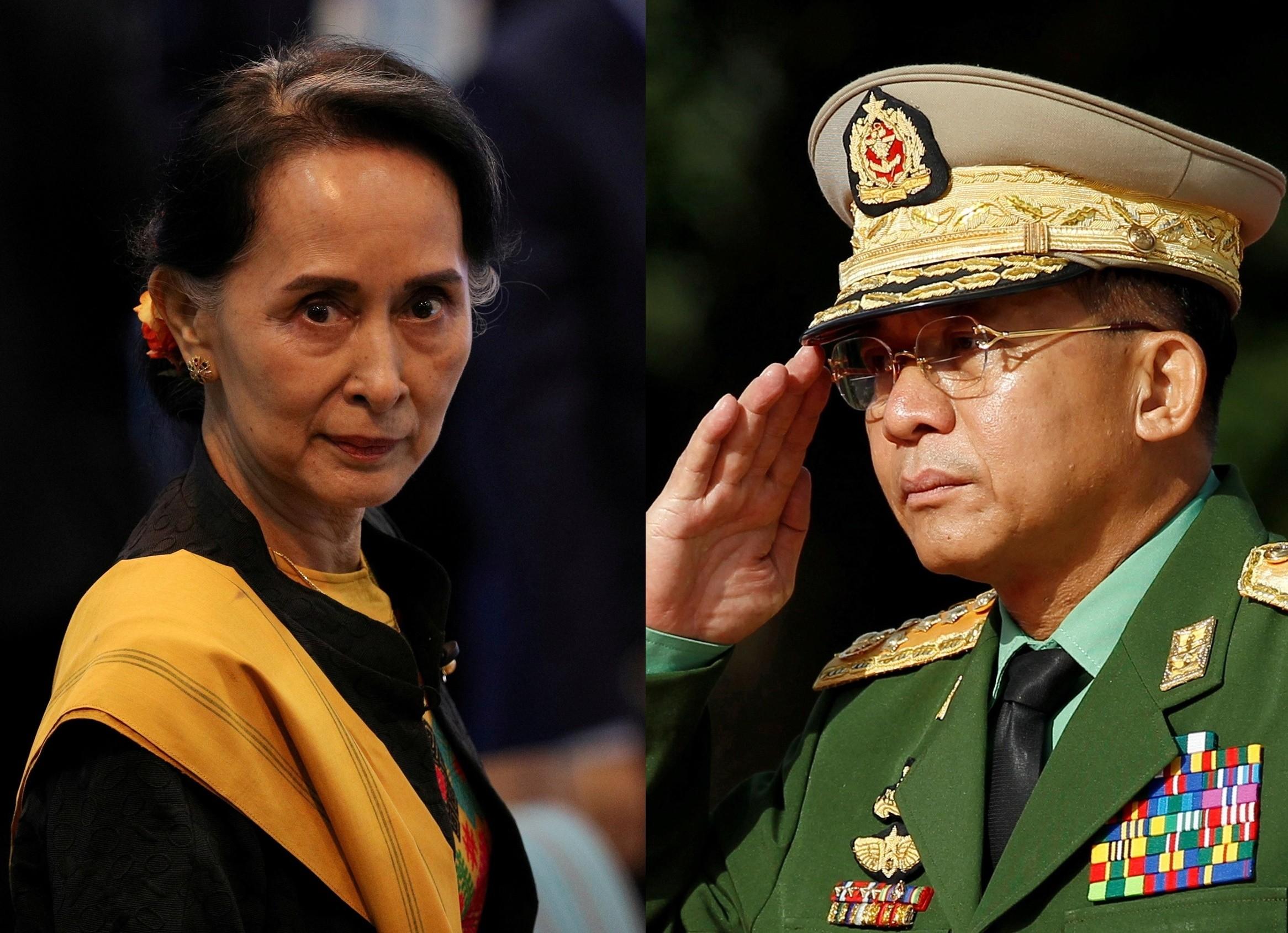 緬甸軍政府,翁山蘇姬,溫敏,敏昂萊,緬甸,軍警,橡膠子彈