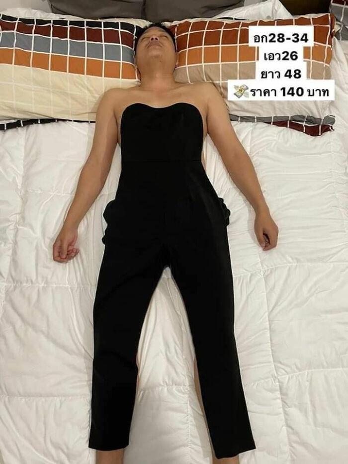 ▲▼菲律賓賣家利用睡著的老公做模特兒。(圖/翻攝自Facebook/Jo`s Online Shoppe)