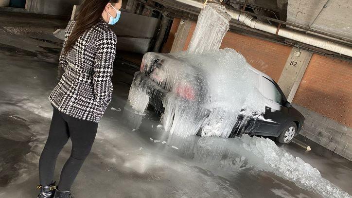 ▲▼德州慘遇寒流,水流冰凍。(圖/翻攝自Tik Tok)