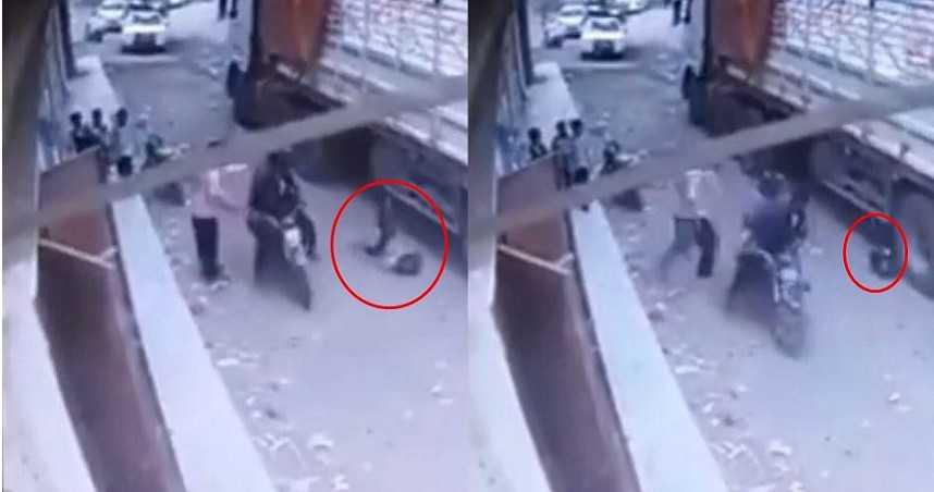 ▲▼葉門一名男童在劫難逃,慘遭大型貨車後輪輾壓。(圖/翻攝自Youtube)