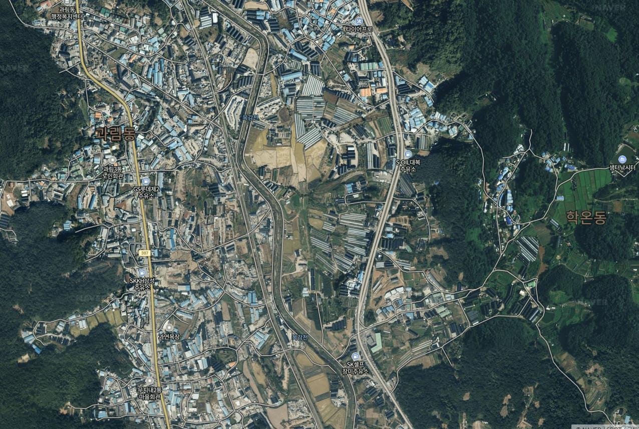 ▲▼始興市果林洞、光明市鶴溫洞交界處被劃為新市鎮,該地區大部分為農業用地。(圖/翻攝自Naver Map)