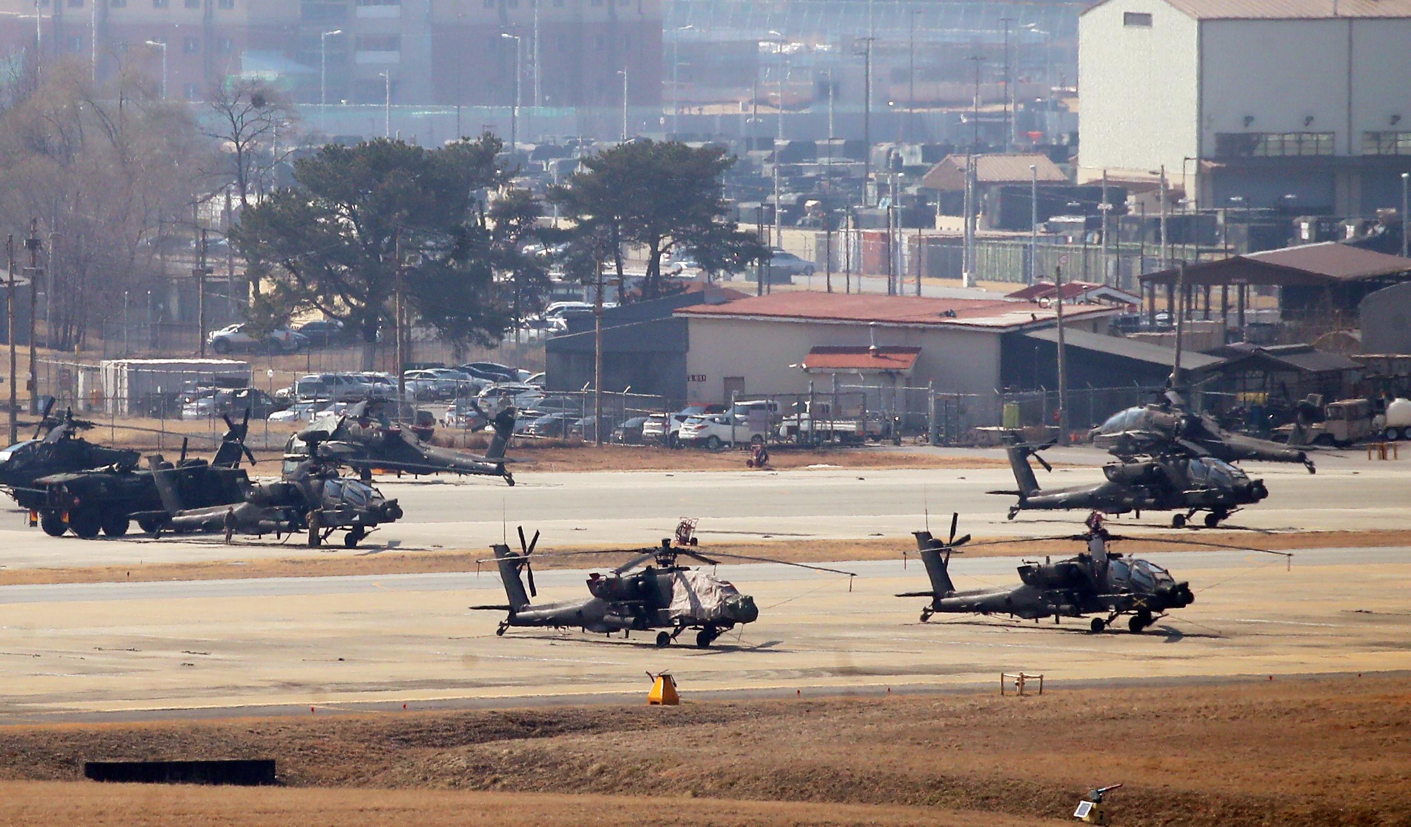 ▲▼此次美韓聯合軍演採電腦兵推,圖為7日京畿道平澤市駐韓美軍的韓福瑞營。(圖/達志影像)