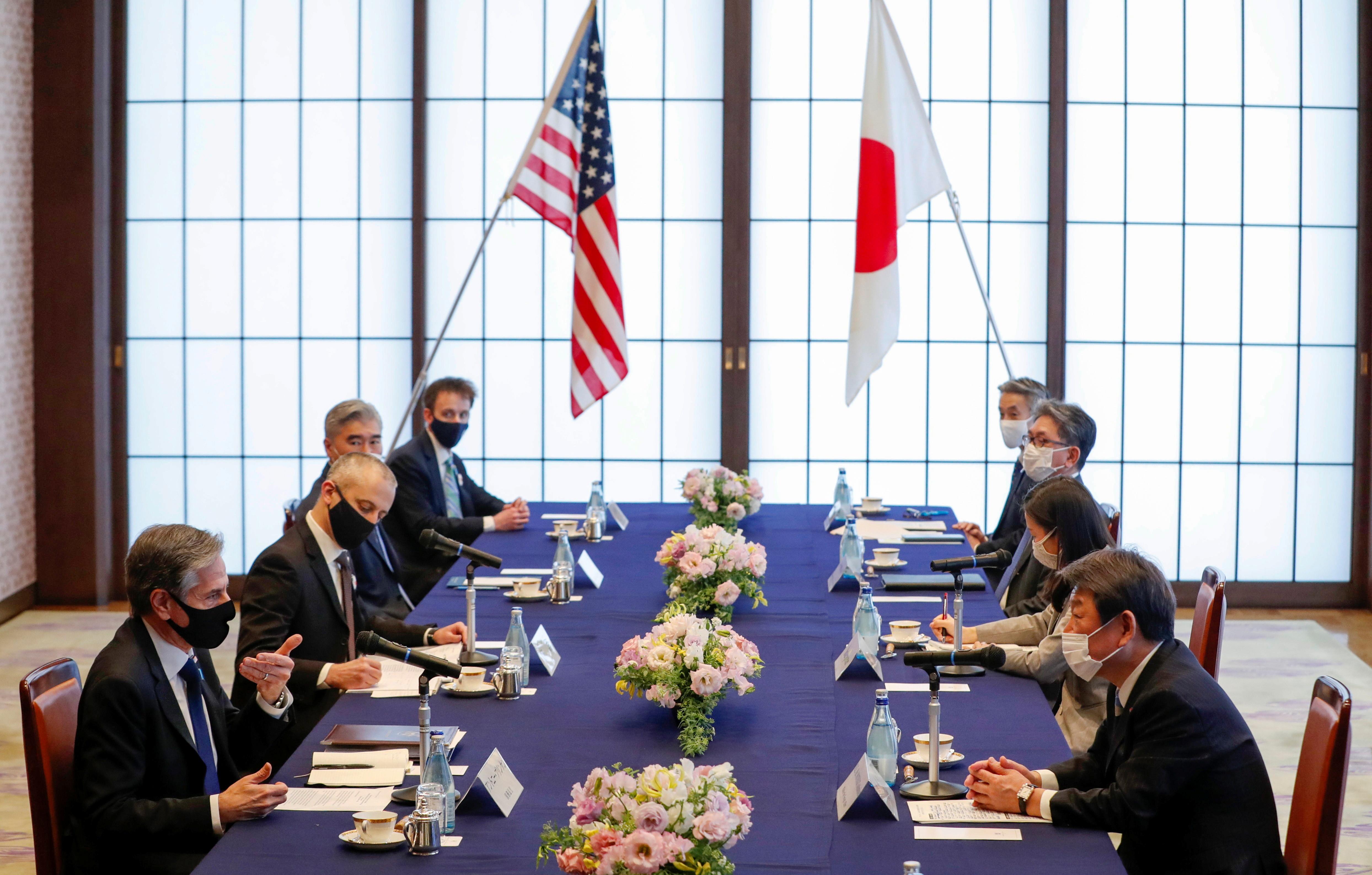 ▲▼美國務卿布林肯與日外務大臣茂木敏充16日舉行雙邊會談。(圖/路透社)