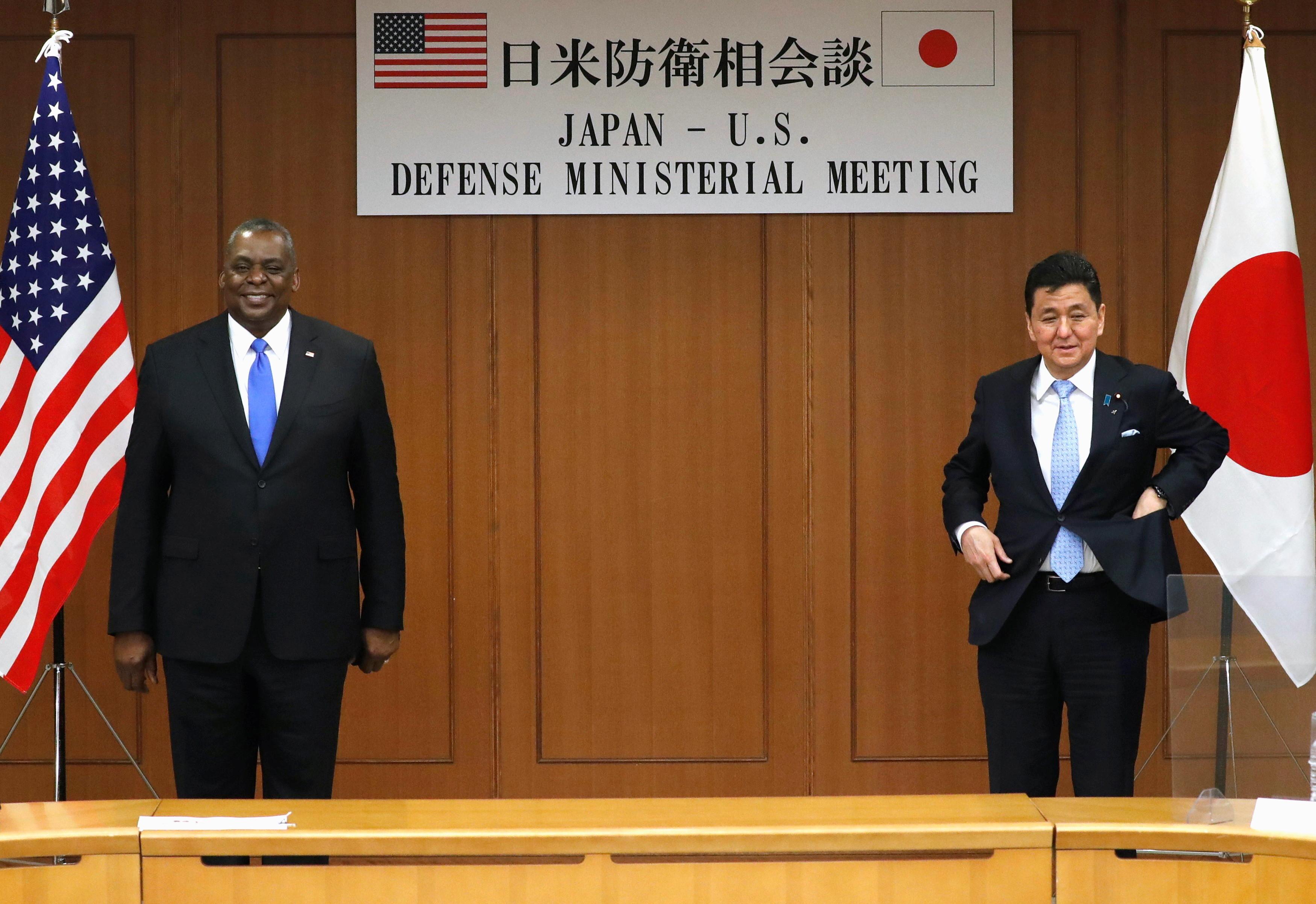 ▲▼美國防部長奧斯丁與日防衛大臣岸信夫16日舉行雙邊會談。(圖/路透社)