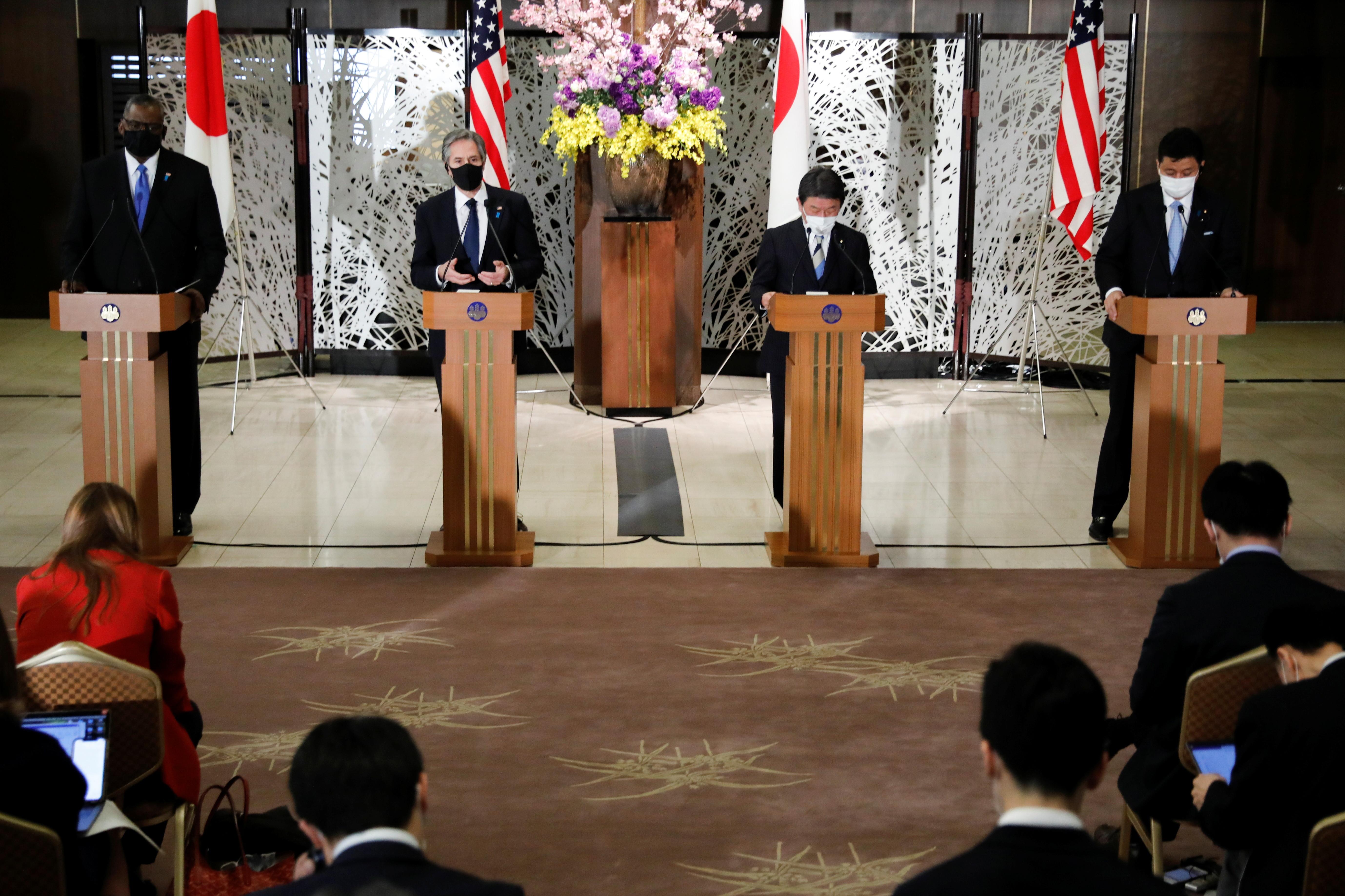 ▲▼美日兩國16日於東京舉行2+2雙邊會談。(圖/路透社)