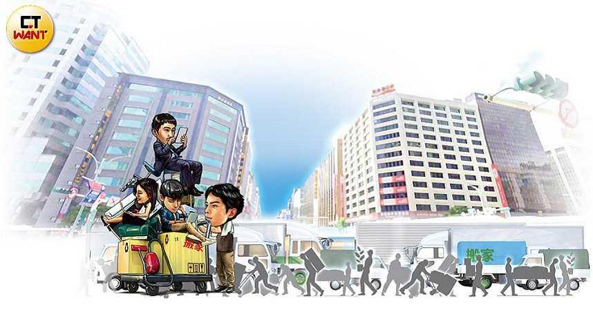 近年內大台北將有不少企業總部進行都更改建,估計約有5萬名上班族將跟著「換巢」打拚。(圖/本刊繪圖組)