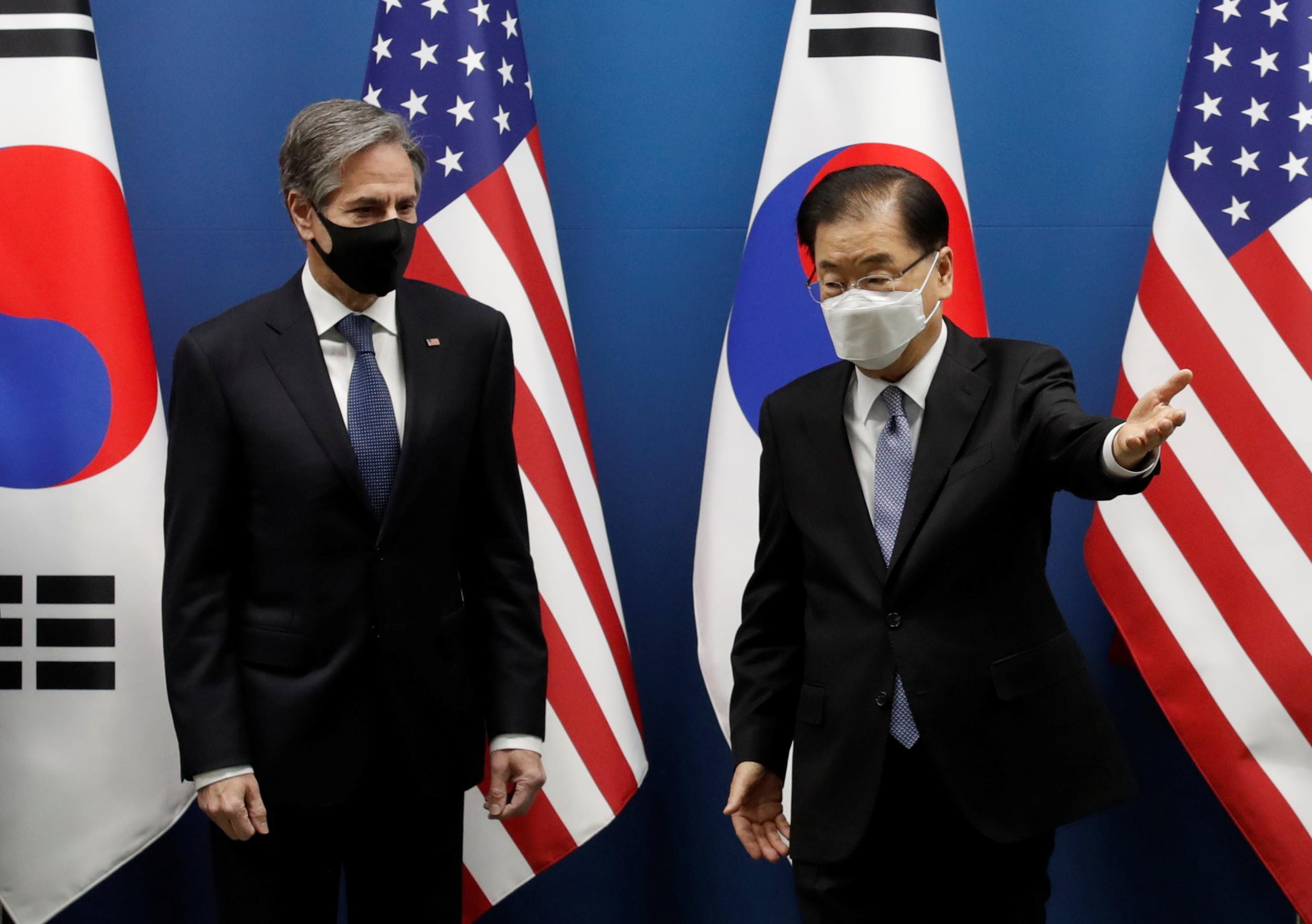 ▲▼美國國務卿布林肯與南韓外交部長鄭義溶。(圖/路透社)