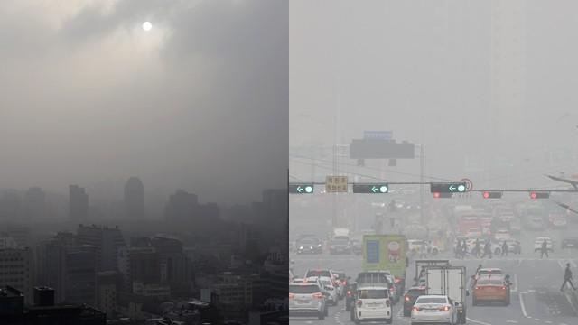 ▲▼南韓迎來今年最大沙塵暴,首爾29日天空呈灰濛濛一片。(圖/達志影像)
