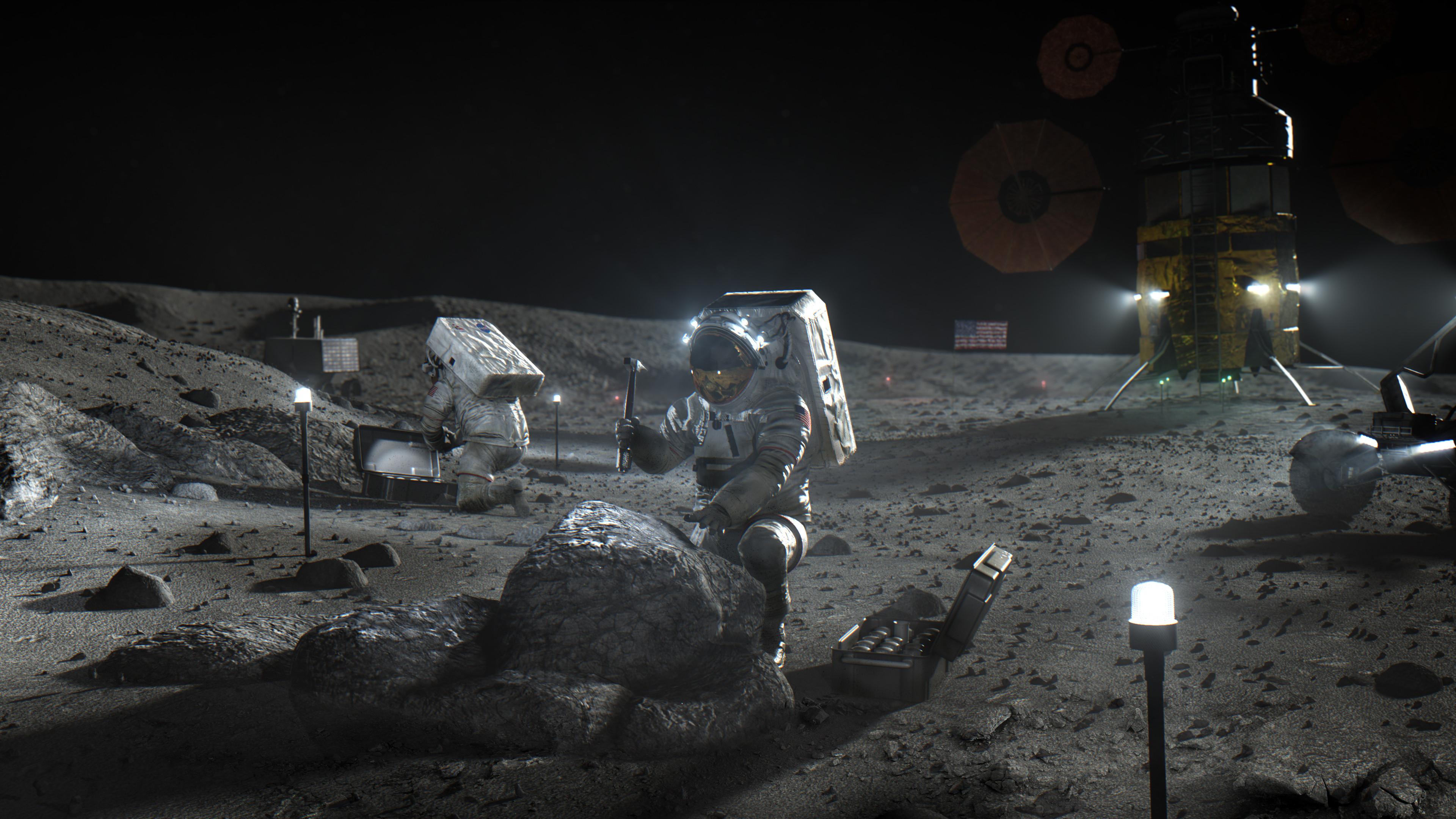 ▲▼美國NASA計畫2024年重返月球,SpaceX拿下研發登陸月艇合約。(圖/達志影像/美聯社)