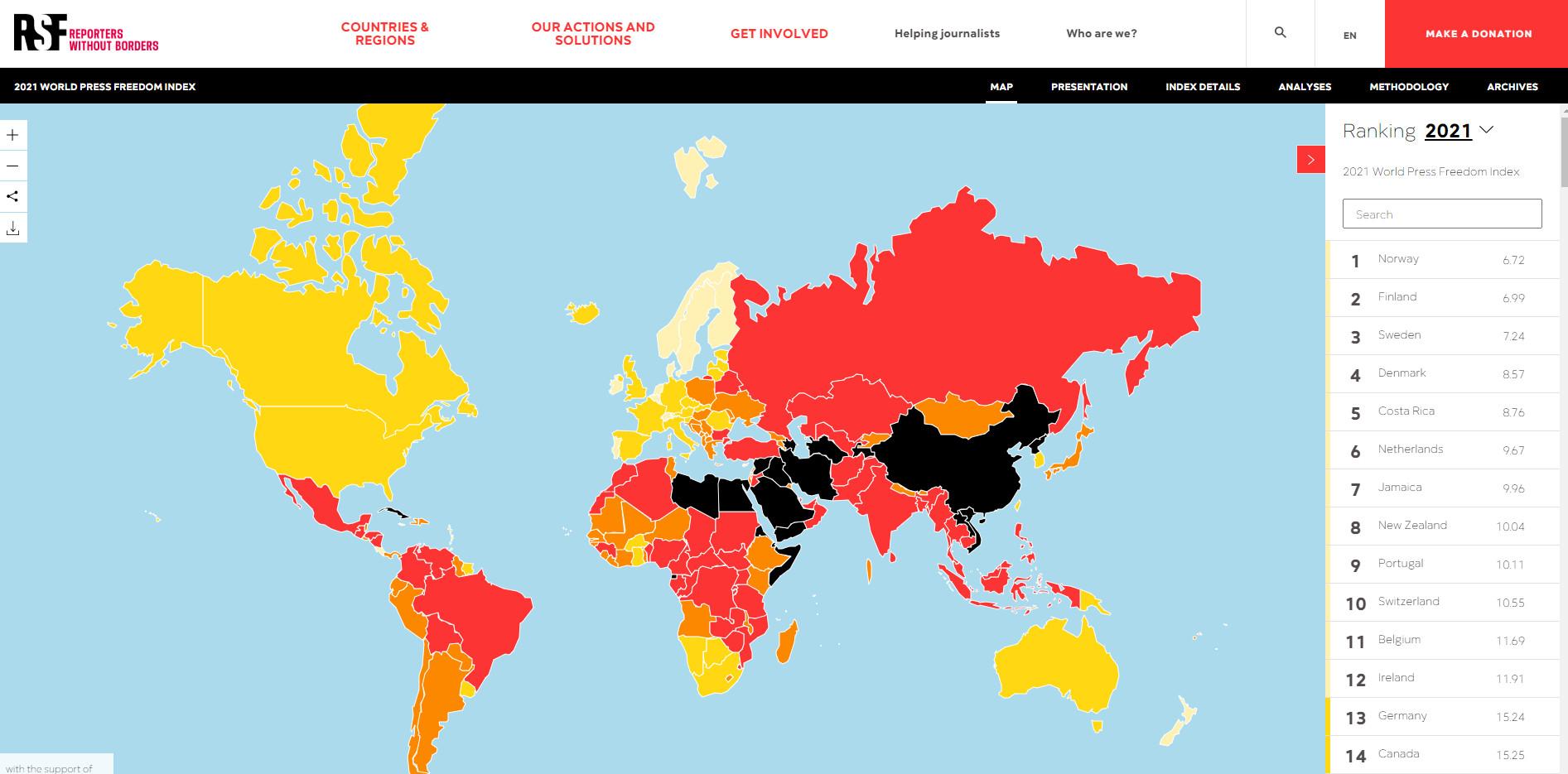 ▲▼無國界記者公佈2021全球新聞自由排行。(圖/翻攝自RSF官網)