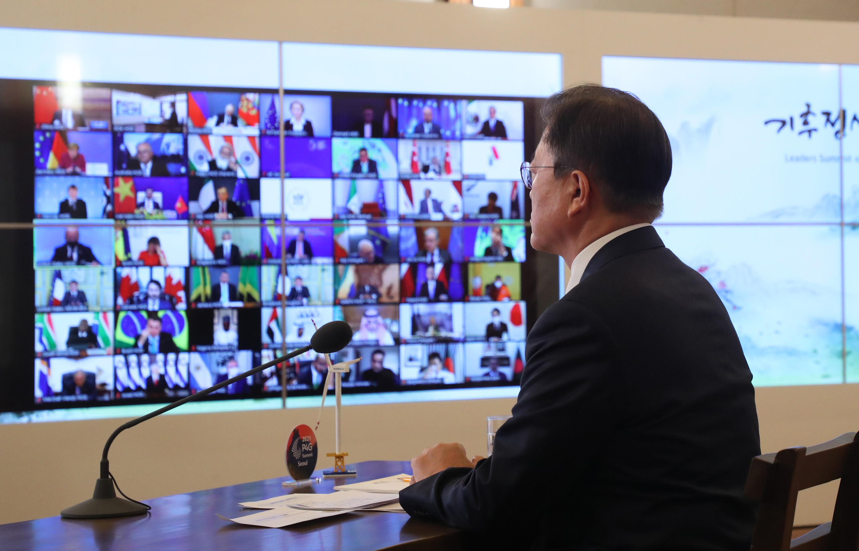 ▲▼文在寅參與由美國主導的全球領袖氣候視訊峰會。(圖/達志影像)