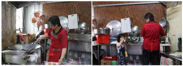 ▲ 左圖:陳老師在社區長輩們捐助搭建的廚房,烹煮社區長輩及孩子每日的餐食。為了讓大家有更多選擇,每餐堅持要有六菜一湯,讓居民有更多選擇。右圖: 一面照顧孫女一面煮飯。