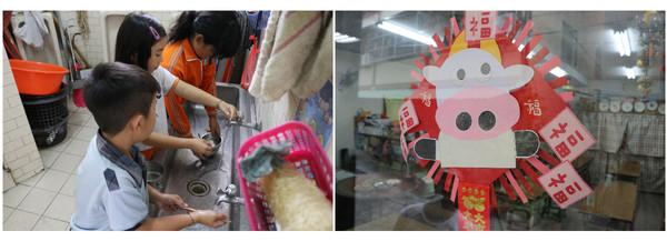 ▲左:孩子們吃完晚餐後主動自己洗碗。右:孩子製作的可愛春聯。