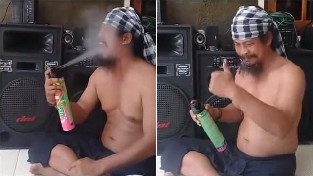 ▲▼馬惹他朝自己的嘴巴噴灑殺蟲劑。(圖/翻攝自Youtube)