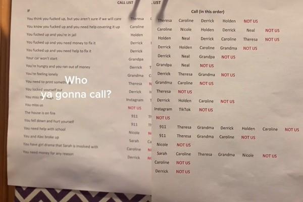 ▲▼ 電話清單。(圖/翻攝自Tik Tok/korish1975)