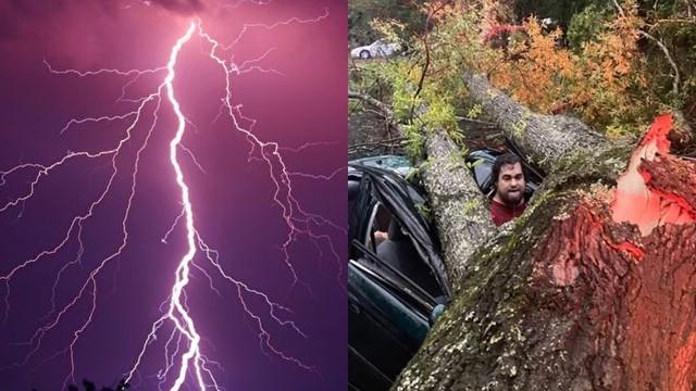 ▲▼美國一名男子幸運躲過雷擊。(圖/翻攝自LADbible)
