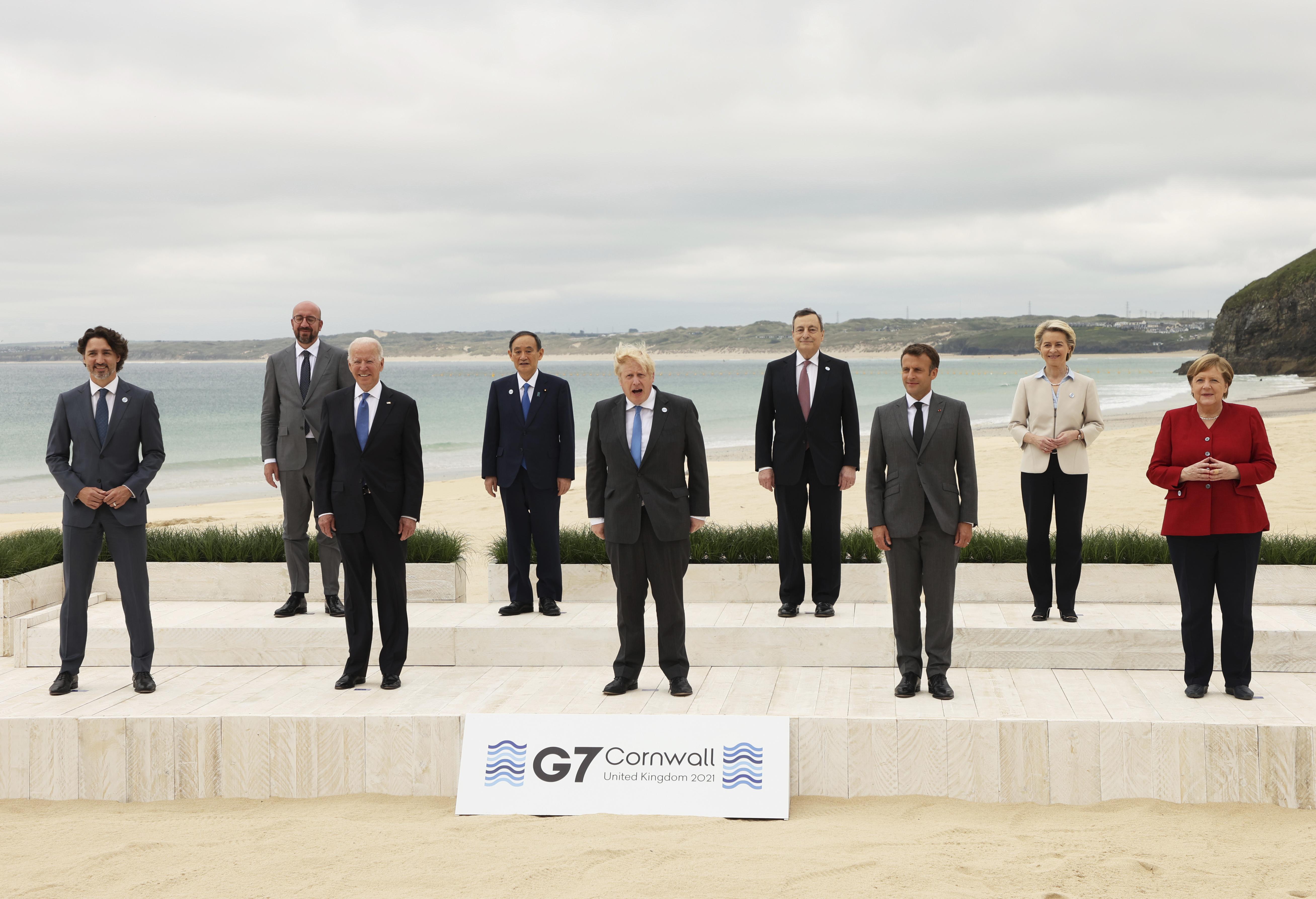 ▲▼G7峰會聯合聲明中,罕見將會議焦點著重在中國。(圖/達志影像/美聯社)
