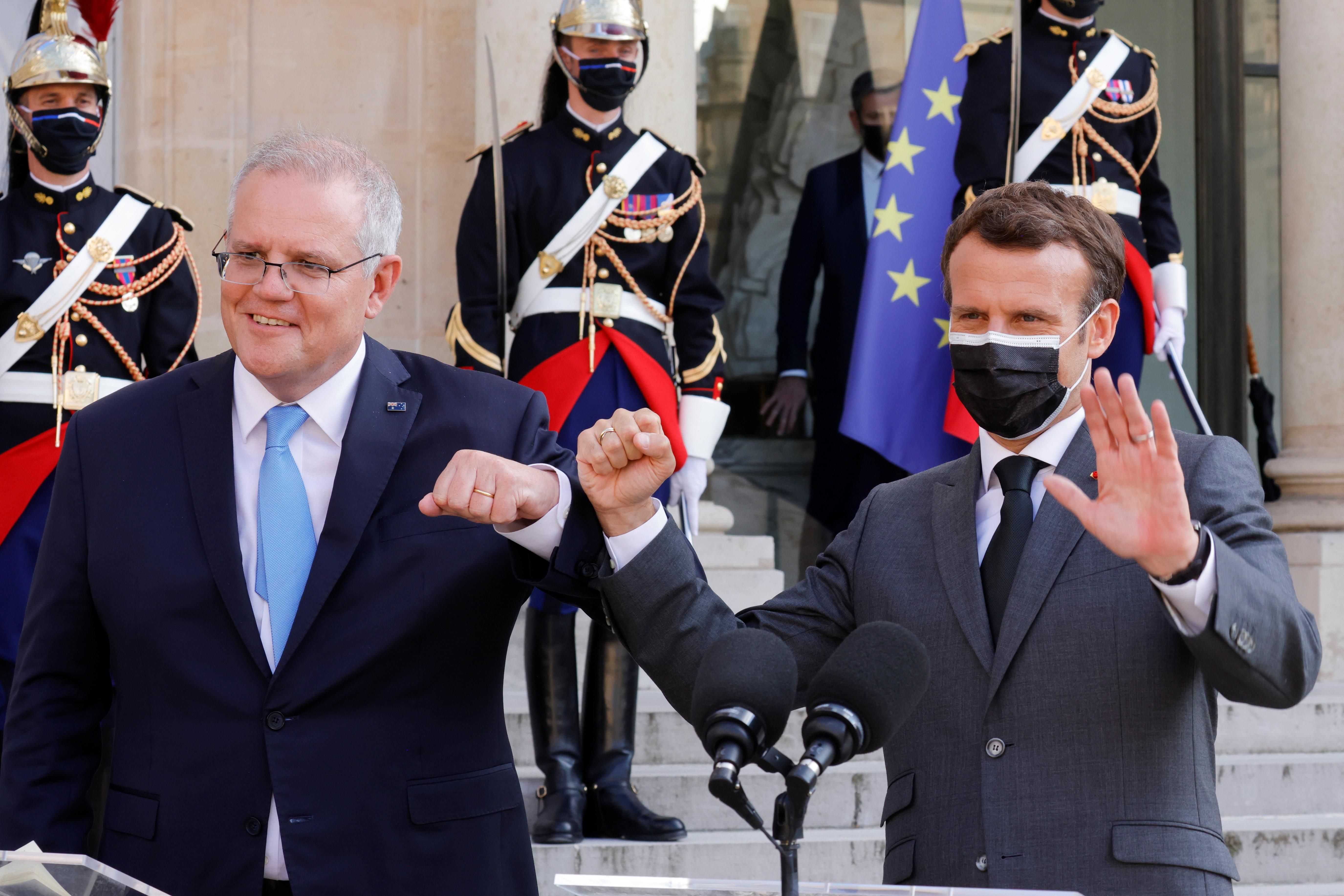 ▲▼澳洲總理莫里森在巴黎會晤法國總統馬克宏。(圖/路透社)
