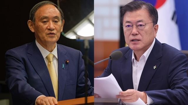 ▲▼日本首相菅義偉、南韓總統文在寅。(圖/達志影像/newscom)
