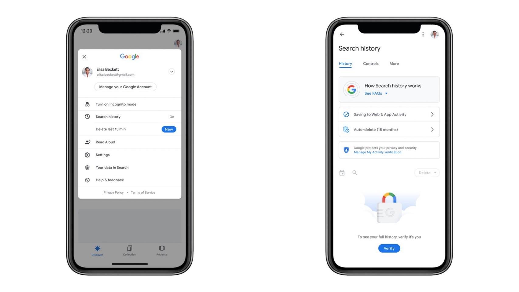 ▲Google新功能可刪除最近15分鐘內搜尋紀錄 。(圖/取自9to5google)