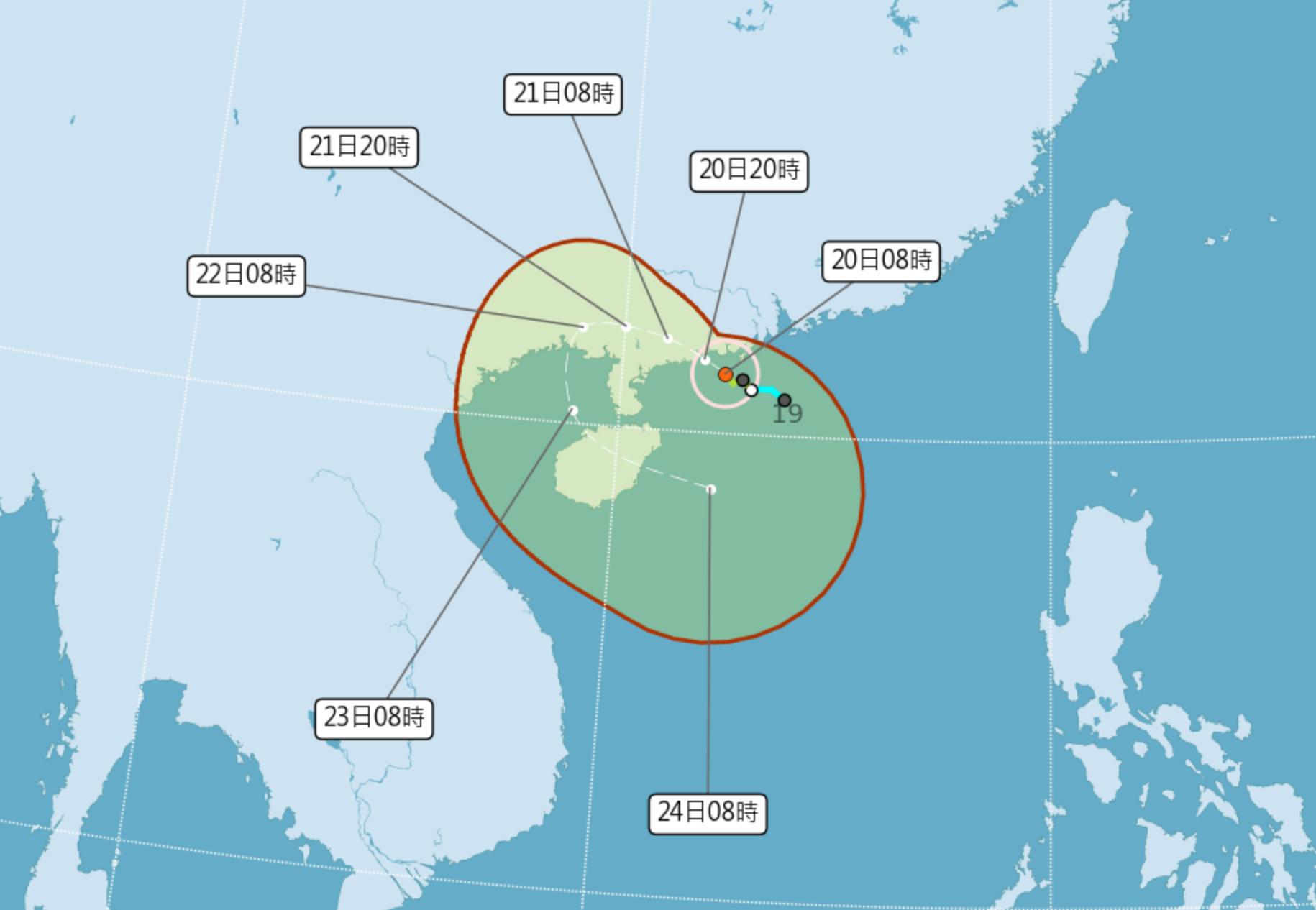 ▲第七號颱風查帕卡已增強為中度颱風。(圖/氣象局)