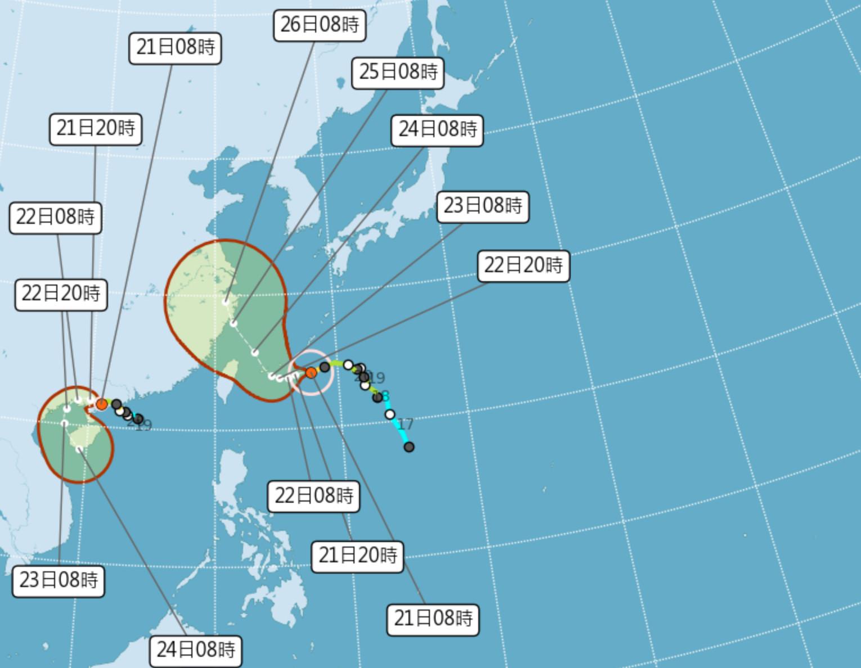 ▲▼中度颱風烟花持續往西逼近台灣。(圖/氣象局)