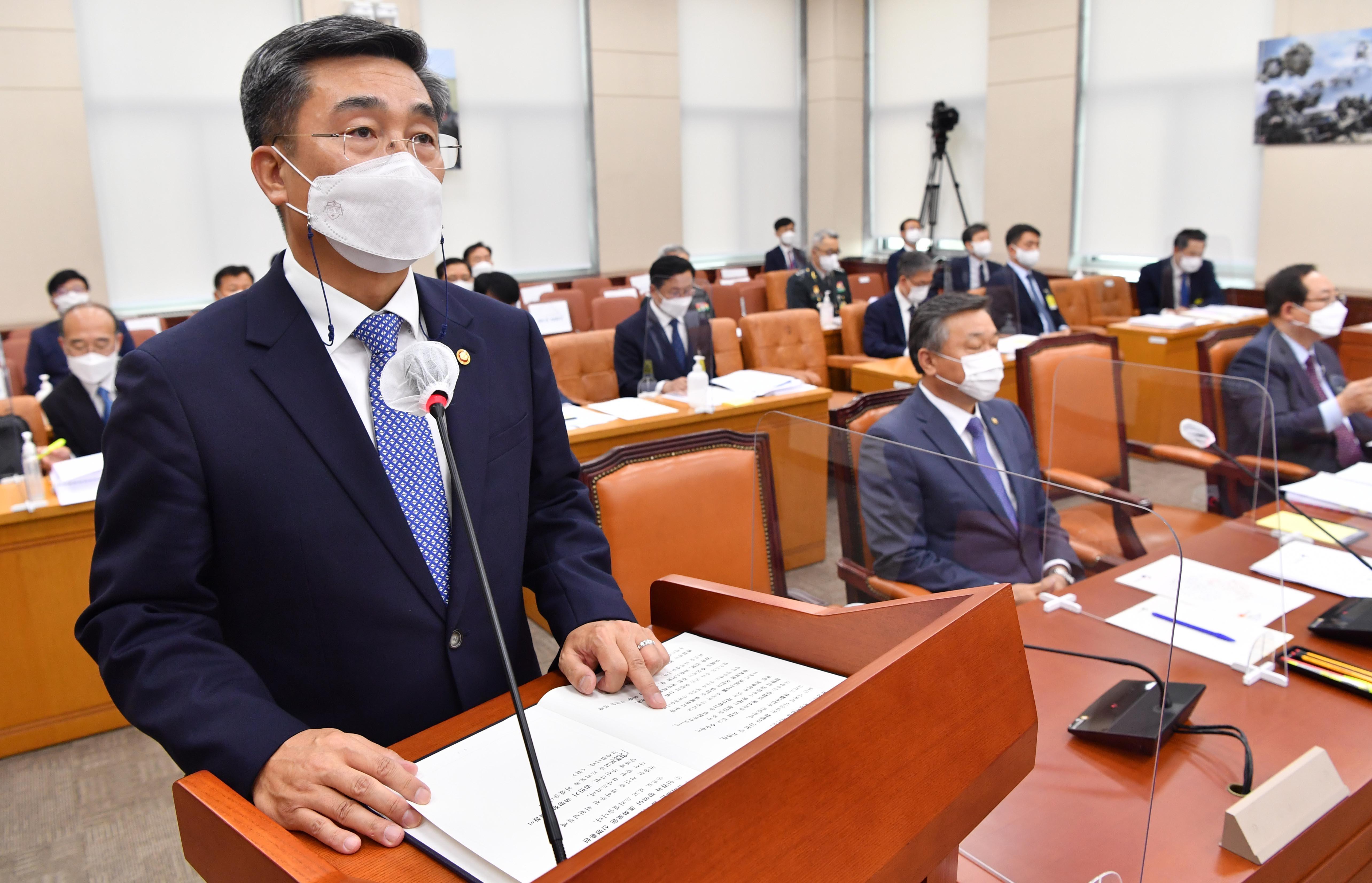 ▲▼南韓國防部長徐旭5月底出席國會全體會議。(圖/達志影像)