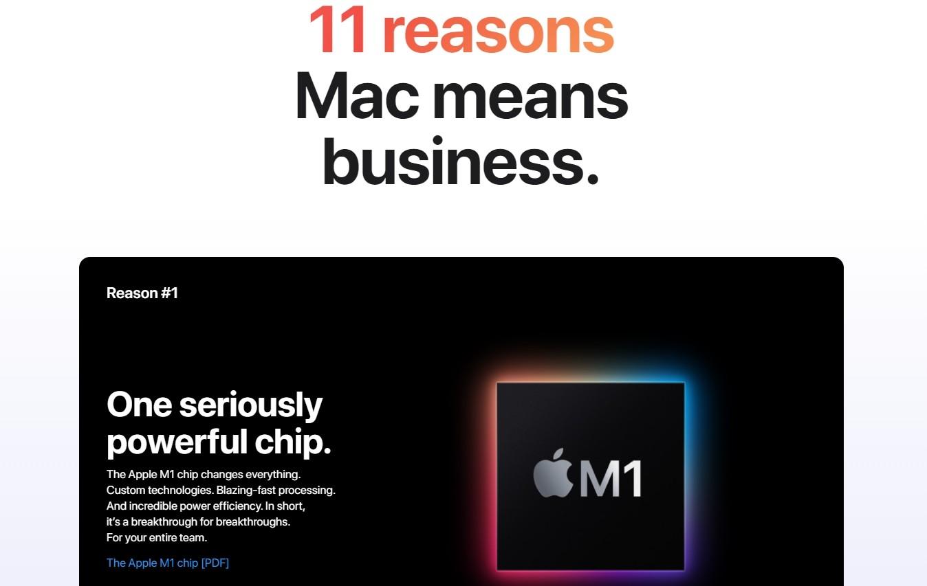 ▲Mac means business。(圖/翻攝自蘋果官網)