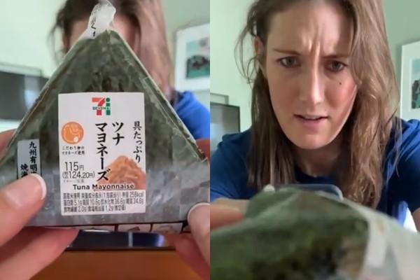 採訪東奧「不會開御飯糰」 女記者眉頭大皺苦戰32秒!網全被萌翻