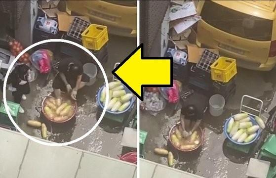 ▲▼南韓首爾豬腳餐廳員工在洗滌、醃製白蘿蔔時,將兩腳跨進水盆內,還用菜瓜布擦拭腳掌。(圖/翻攝自韓網)