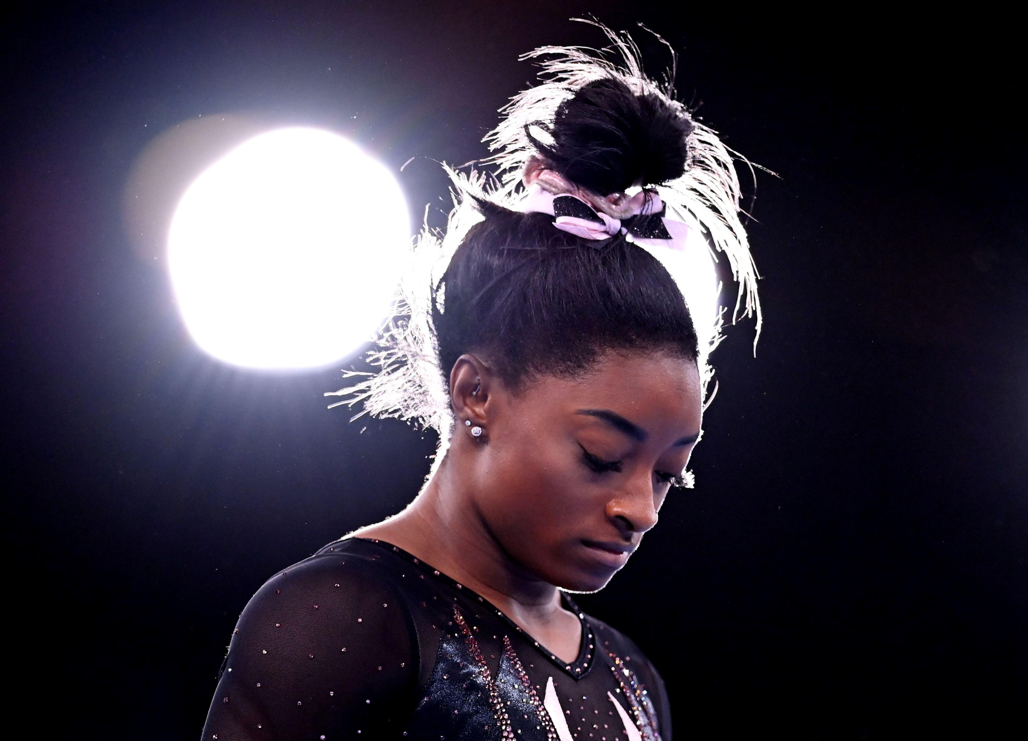 ▲▼美國「體操女王」拜爾斯宣布退出自由體操決賽,僅剩個人平衡木決賽。(圖/路透社)