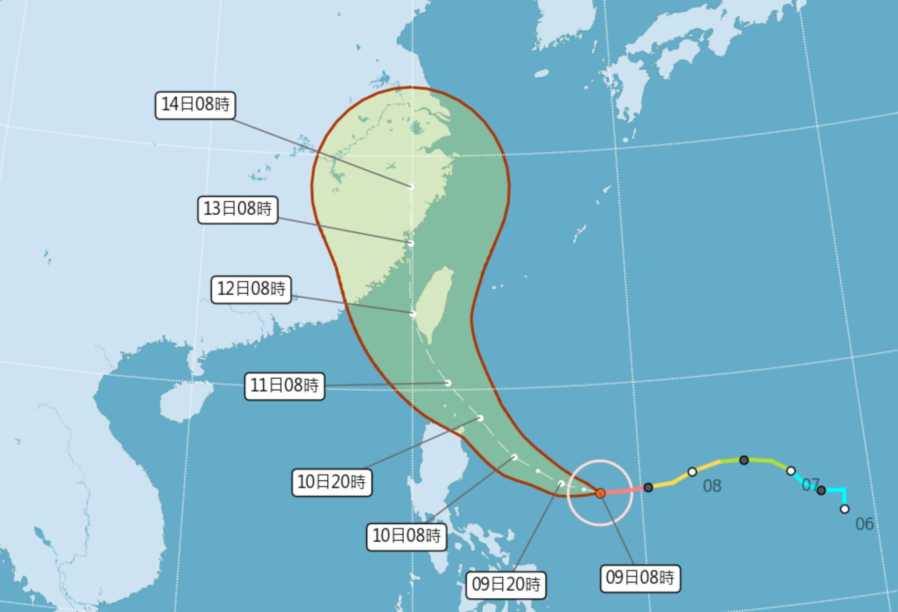 ▲▼璨樹颱風路徑修正,不排除登陸機會。(圖/氣象局)