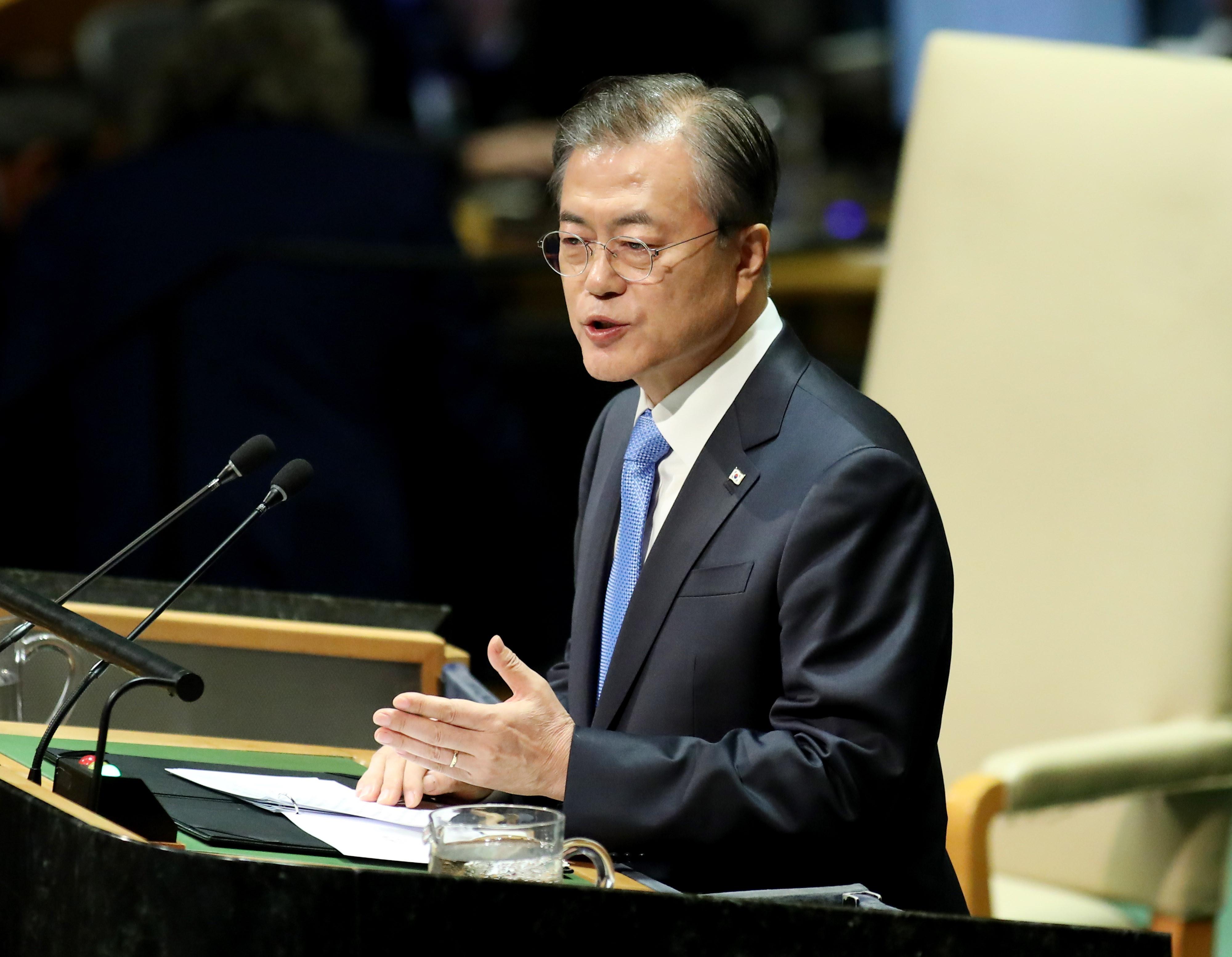 ▲▼文在寅預計19至23日訪美,出席第76屆聯合國大會。圖為文在寅2019年9月在紐約第74屆聯合國大會上發表演說。(圖/達志影像)