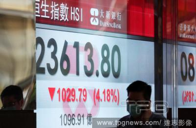 港股大跌千點!跌幅逾4%「失守2萬4千點」 台日韓陸股休市