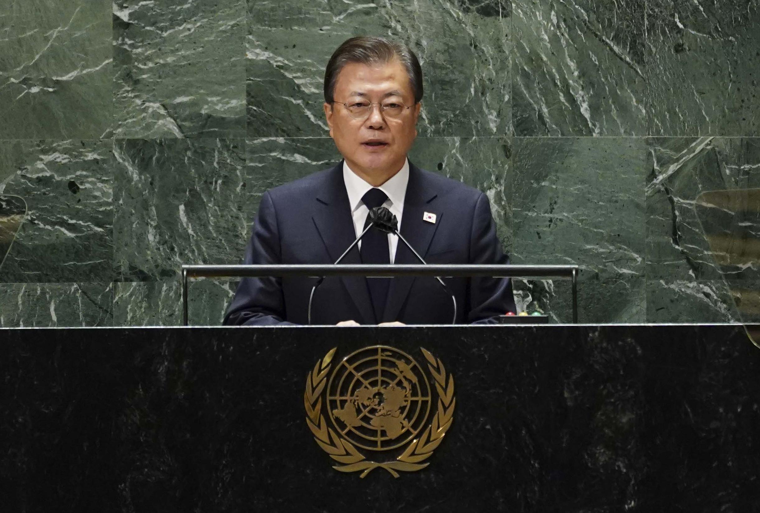 ▲▼南韓總統文在寅於美東時間21日發表演說。(圖/達志影像)