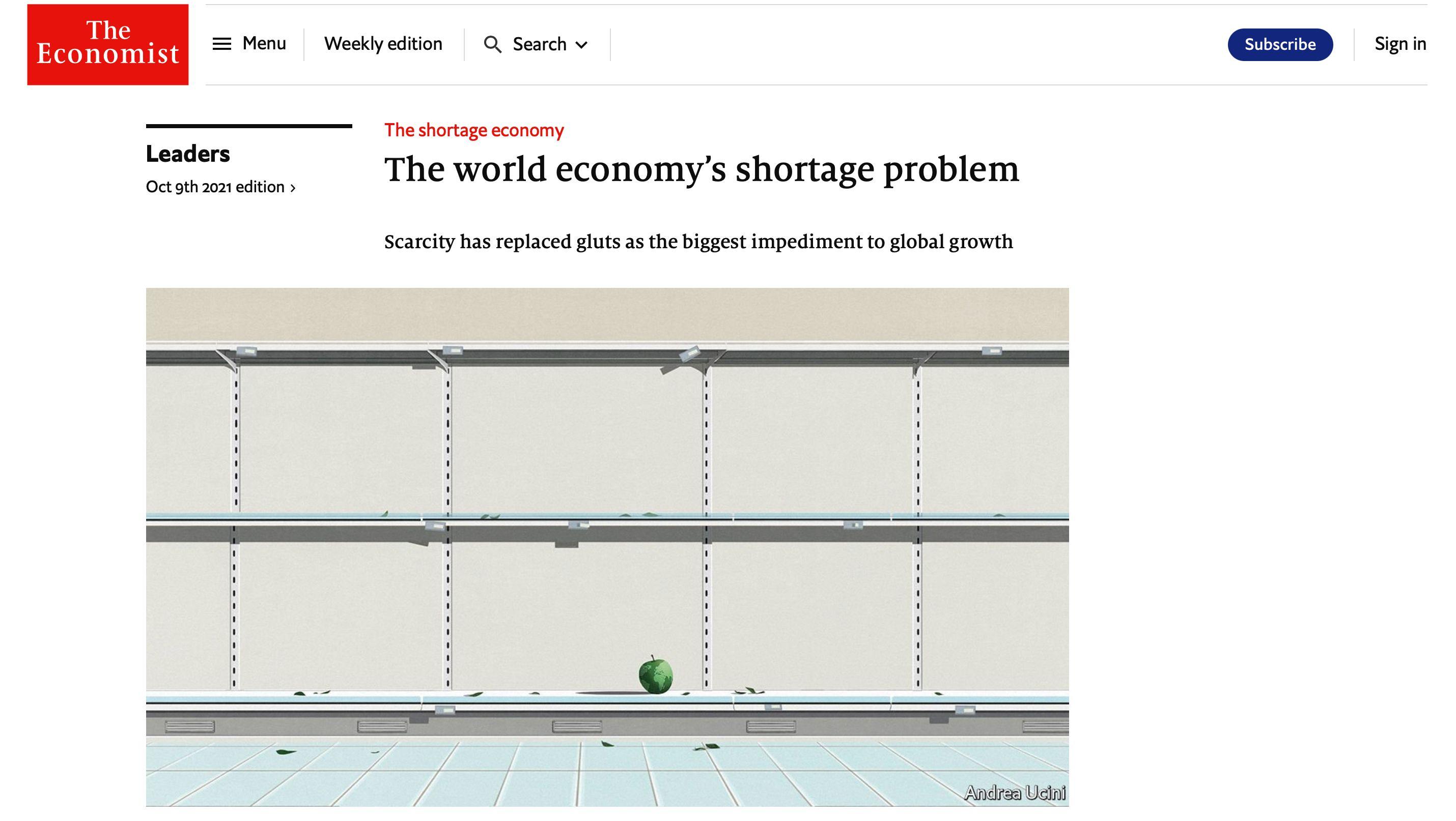 經濟學人,新冠疫情,供給,需求,消費性反彈,通膨,減碳,保護主義,地緣政治,全球化,石油,天然氣,生產成本,晶片,台積電,5G,中國,結構性失業