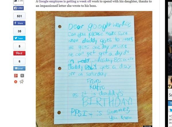 爸爸只休一天!女童寫信給Google主管 真獲回信+長假