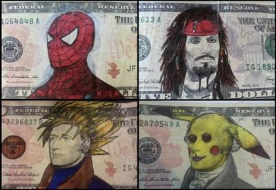 鈔票偉人塗鴉變裝SHOW~ 還能用對吧?