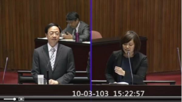 親民黨立委陳怡潔3日質詢行政院長江宜樺。(圖/取自立法院官網)