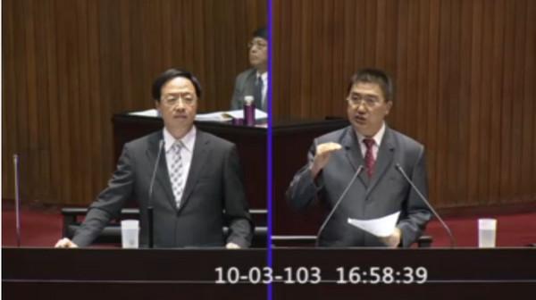 國民黨立委林鴻池3日下午在立法院質詢江宜樺。(圖/取自立法院官網)