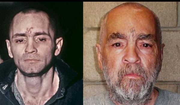 殺人魔曼森1971年的照片(左),右為他2009年的樣子。(圖/科克倫監檔案照)
