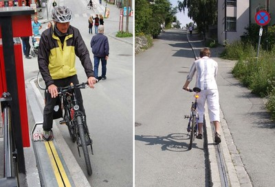 挪威山路腳扶梯,推腳踏車輕鬆爬斜坡