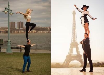 情侶拍照新挑戰,把女友單腳頂在頭上