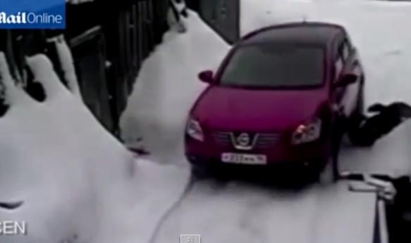 俄羅斯,戰鬥民族,汽車,Nissan,汽車,老婦人,餵雞