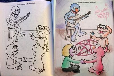 18禁兒童著色本,芝麻街變成邪教組織