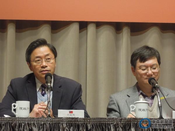 ▲行政院下午召開第27次資安會議,張善政(左)會後召開記者會。(圖/記者賴于榛攝)